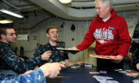 110206-N-6632S-624 ATLANTIC OCEAN (Feb. 6, 2011) U.S. Rep. Mo Brooks (R-Ala.) passes out cookies donated by various schools to Sailors aboard the aircraft carrier USS George H.W. Bush (CVN 77). George H.W. Bush is underway in the Atlantic Ocean conducting a composite training unit exercise. (U.S. Navy photo by Mass Communication Specialist 3rd Class Kevin J. Steinberg/Released)