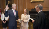 On April 10, 2017, Chief Justice John G. Roberts, Jr., administered the Constitutional Oath to the Honorable Neil M. Gorsuch in a private ceremony attended by the Justices of the Supreme Court and members of the Gorsuch family. The oath was administered in the Justices' Conference Room at the Supreme Court Building. Chief Justice John G. Roberts, Jr., administers the Constitutional Oath to Judge Neil M. Gorsuch in the Justices' Conference Room, Supreme Court Building.  Mrs. Louise Gorsuch holds the Bible.