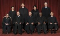 The Roberts Court, June 1, 2017.  Seated, from left to right: Justices Ruth Bader Ginsburg and Anthony M. Kennedy, Chief Justice John G. Roberts, Jr., and Justices Clarence Thomas and Stephen G. Breyer.  Standing, from left to right: Justices Eleana Kagan, Samuel A. Alito, Sonia Sotomayor, and Neil M. Gorsuch.  Photograph by Franz Jantzen, Supreme Court Curator's Office.