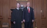 Event Description: The Supreme Court held a special sitting on November 8, 2018, for the formal investiture ceremony of Associate Justice Brett M. Kavanaugh.  President Donald J. Trump and First Lady Melania Trump attended as guests of the Court.  Photo Caption: President Donald J. Trump and Associate Justice Brett M. Kavanaugh at a courtesy visit in the Justices' Conference Room prior to the investiture ceremony.
