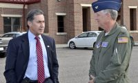 Congressman (Elect) Gary Palmer is greeted by Colonel Cliff James, Wing Commander of the 117th Air Refuelling Wing. Palmer was also briefed on base operations during his November 25th visit. Dickie Drake, District 45 Alabama State Representative, Brigadier General Steven Berryhill, Commander Alabama Air National Guard and Assistant to the Commander, 18th air Force along with Chris Curry, Shelby County Sherrif was also in attendance. (U.S. Air National Guard photo by: Senior Master Sgt. Ken Johnson/Released)