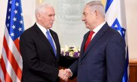"Vice President of the United States Mike Pence meets Israeli Prime Minister Benjamin Netanyahu at the Prime Minister's Office in Jerusalem January 22, 2018.         *** Local Caption *** סגן נשיא ארה""ב מייק פנס נפגש עם ראש ממשלת ישראל בנימין נתניהו בלשכתו בירושלים, 22 בינואר 2018."