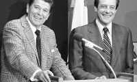 Republican presidential hopeful Ronald Reagan, left smiles with Bill Brock, right, Republican National Chairman during a news conference in Los Angeles Friday, July 13, 1980. Brock agreed to stay on as chairman after recent controversies. (AP Photo)